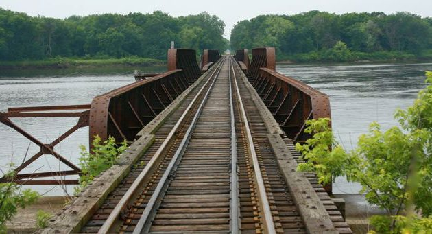 Allison and Thoreson crossed the Wisconsin River on an old railroad trestle.